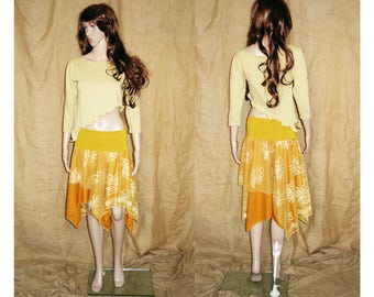 Yellow assymetric, pointy earthy, faery, fairy top woodland M