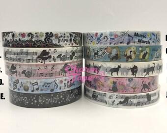 Black Cat & Music Plastic Deco Tape PT1 25 meters
