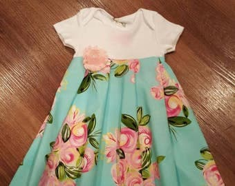 3-6 mo onesie dress - floral