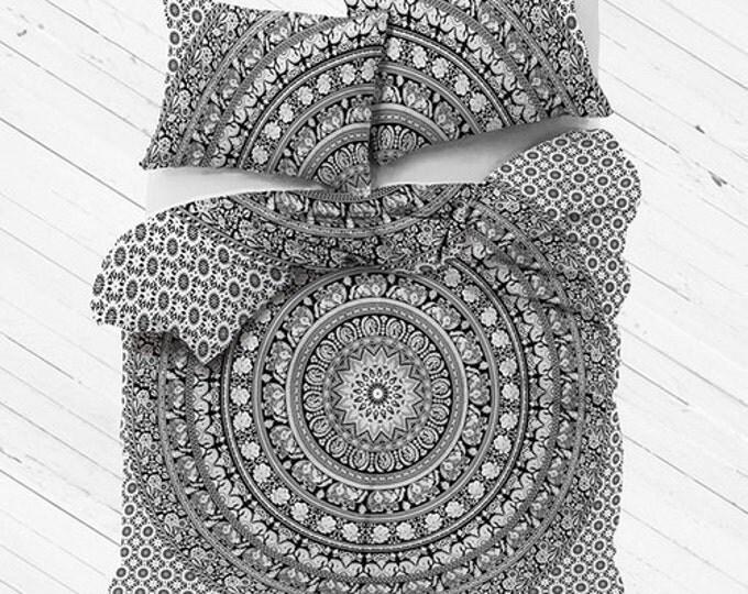 50 Shades of Black and White Duvet Cover Mandala Tapestry Boho Bedding with Matching Pillowcases Duvet Gypsy Dorm Room Bedding Beach Yoga