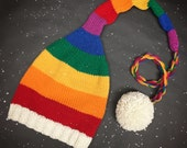 Rainbow Santa Hat with an extra long tail and pom pom