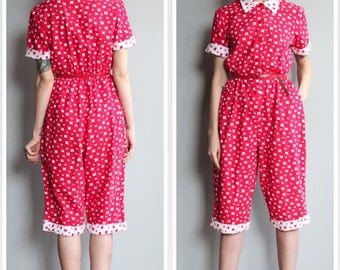 1950s Jumpsuit // Girl Gang Cotton Jumpsuit // vintage 50s jumpsuit