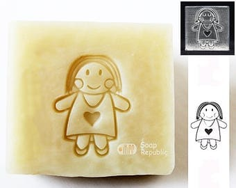 FREE SHIPPING! SoapRepublic Country Doll Acrylic Soap Stamp / Cookie Stamp / Clay Stamp
