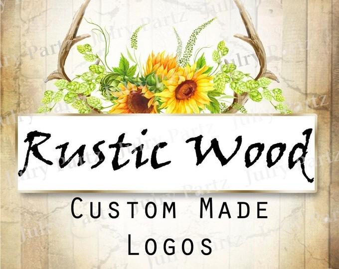 LOGO in Rustic Wood•Premade Logo•Jewelry Card Logo•Flower Logo•Custom Logo•Shop Logo
