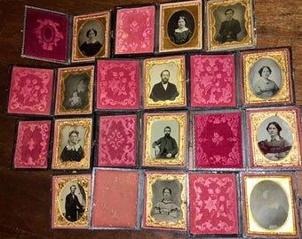 12 Piece Lot - Ambrotypes Tintypes & Dag - 1/9 Plates