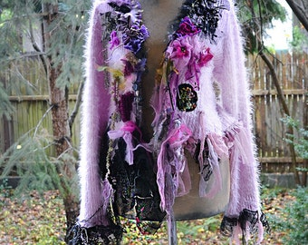 RESERVED Second Payment  Beautiful  Feminine Pale  Pale Purple Soft Sweater/Jacket Silk Velvet BLOSSOMING CHERRY Fairy  Boho Tattered Gipsy