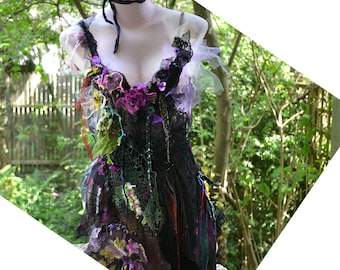 Unique Deep Forest Tunic/Top with  Lots of Silks Lots of Black Laces  Undine Swamp Poisonous Flowers BLACK BUTTERFLY Fairy Tattered Gipsy