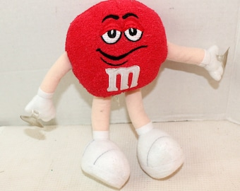 Vintage Red M & M Chocolate Candy Window Suction Cup Plush Stuffed Animal