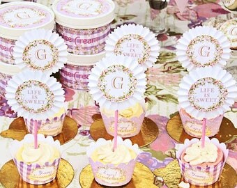 Spring Blooms Monogram Cupcake Kit by Loralee Lewis
