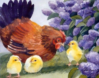 Chickens Print Hen and Chicks 8x10 Watercolor Fine Art by Janet Zeh