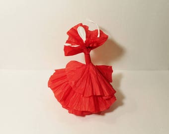 """Ballerina Flamenco Dancer in red dress made of Paper and wire with poseable arms and legs about 8"""" high"""