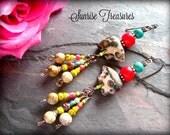 NEW Southwest Earrings, Spirit Bear Earrings, Rustic Earthy Natural Stone Earrings, Red Coral, Picture Jasper, Genuine Turquoise Earrings