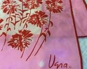 Vintage VERA Scarf VERA NEUMANN Scarf Pink Red Rectangle Scarf Floral