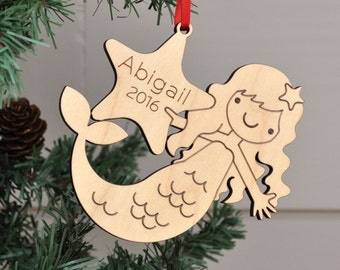 Wooden Mermaid Ornament: 2017 Personalized Name Baby's First Christmas, Nautical, Ocean, Sea Life Ornament