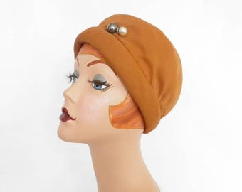 Vintage cloche hat, brown Mr. John crepe, 1960s, small