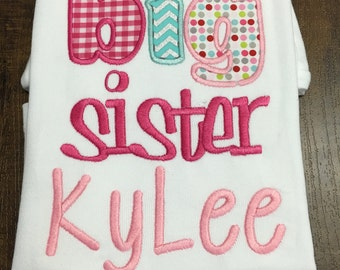Personalized BIG sister shirt, middle sister shirt, BIG Brother shirt, new baby brother, middle brother shirt, little sister shirt, baby sis