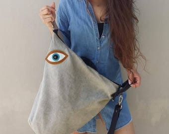 Handmade convertible ,backpack,shoulder ,cross body bag ,in light grey canvas-leather,named MATI