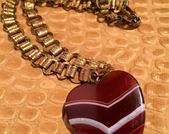 Vintage Banded Agate heart necklace.