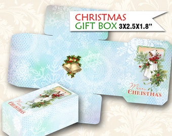 CHRISTMAS gift BOX 2x3.5 inch Vintage Template Printable Trees Digital Instant Digital Collage Sheet download (469) Buy 3 get 1 free