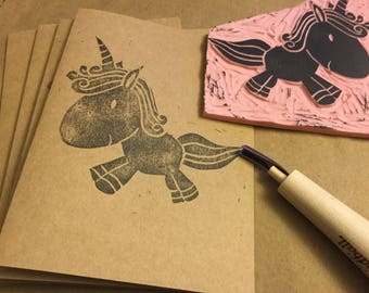 Unicorn Card Set, Hand Stamped blank cards, Set of 4