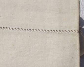 Antique French Panel Linen Toile Jour de Venise Untreated Unused Ecru Linen sheet