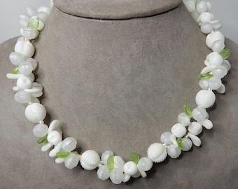 Vintage Germany White Glass Flower & Leaf Bead Necklace   NEM4