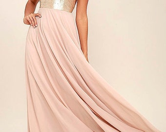 Light Pink, Blush Sequin and Chiffon Dress Bridesmaid , Rustic, Shabby Chick