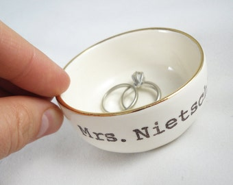 CUSTOM RING DISH with gold rim or silver rim, 14 custom color options, custom text date initials - gift for bridal shower or engagement gift