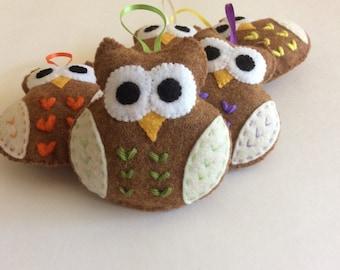 Plush Felt Owl - Green owl felt owl favor ornaments