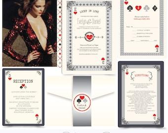 Roll the Dice. Casino invitation. Vegas Wedding invitation.PLaying cards invitation. Invitation and Rsvp Sample