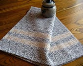 Kitchen Towel Handwoven, Tea Towel Hand Woven, Woven Hand Towel, Grey and Beige, Gourmet Kitchen, Chef's Towel, Artisan Made Guest Towel