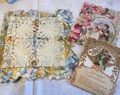 Vintage Valentine Germany Doily Lace Stand-up Girl With Doll Lot of 3 Antique
