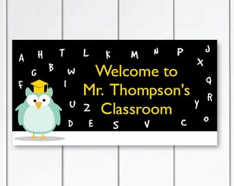 On SALE this week owl-teacher-Door-Sign-custom-teacher-name-classroom-door-sign---ABC-owls-themed-class-wall-plaque