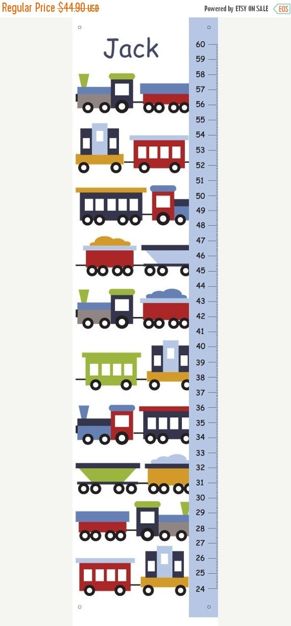 On SALE this week Trains Growth Chart - kids decor