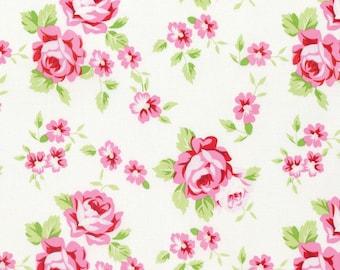 Rambling Rose - White Happy Rose by Tanya Whelan for Freespirit Fabrics
