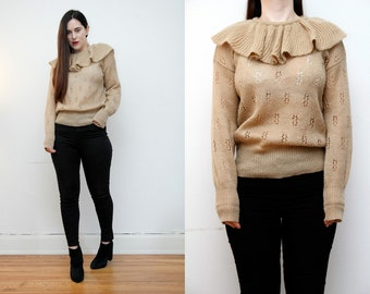 Vintage Frill Neck Geek Cable knit Wool Jumper