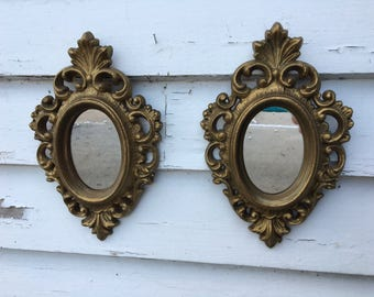 "Vintage Set Small Ornate Homco Oval Gold Frame Mirror 7 1/2"" by 4 3/4"""