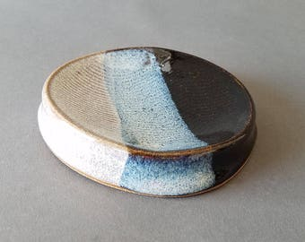 Concave Oval Textured Soap Dish in Gloss Black Speckled Pearl White Blue Handmade Pottery