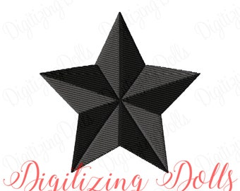 Nautical Star Solid Fill Machine Embroidery Design Digital File 1x1 2x2 3x3 4x4 INSTANT DOWNLOAD