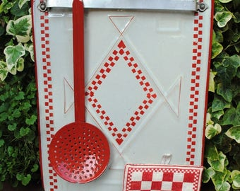 Antique French enamelware UTENSIL RACK Checks LUSTUCRU Red