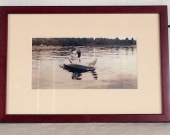 Vintage Framed 1920's Black and White Photo of Flapper Girl Swimming with Adirondack Lake Background