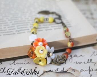 Yellow and Orange bracelet Floral Corsage bracelet Asymmetrical bracelet Tangerine Bohemian Floral bracelet Rustic Bracelet - Citrus Burst