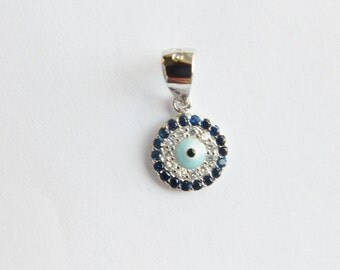 10mm Sterling silver round  blue  evil eye charm with cz, round silver evil eye charm with clear , blue cz