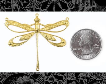 Raw Brass Vintage Dragonfly Pendant with Cut-Out Wings and Four Rings, One * B-P107