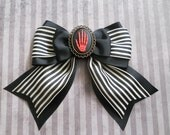 Gothic Lolita hair bow skeleton hand red cameo striped bow clip