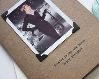 Belated Birthday  Card for Woman The New Black Funny Retro Look