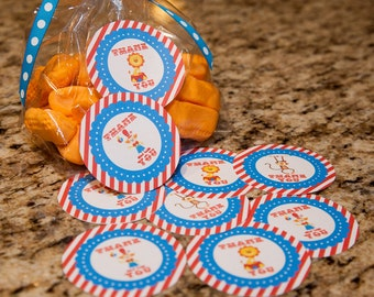 "Circus Treat Bag Stickers 2.5""- 21 pack"