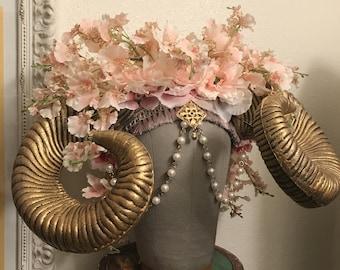 Pastel Creature - Gold Horned orchid flower headdress headpiece Unique fairy boho burning man photoshoot fascinator crown