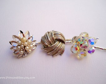 Vintage earrings hair bobbies - Silver white pearls crystal AB beaded clusters dainty feminine jeweled embellish decorative hair accessories