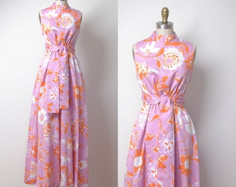 1960s Floral Print Maxi Dress / 60s Pink Cotton Hostess Gown